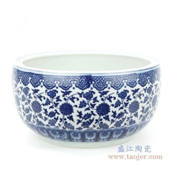 RZFU17-S 景德镇陶瓷 经典缠枝莲瓷缸小号
