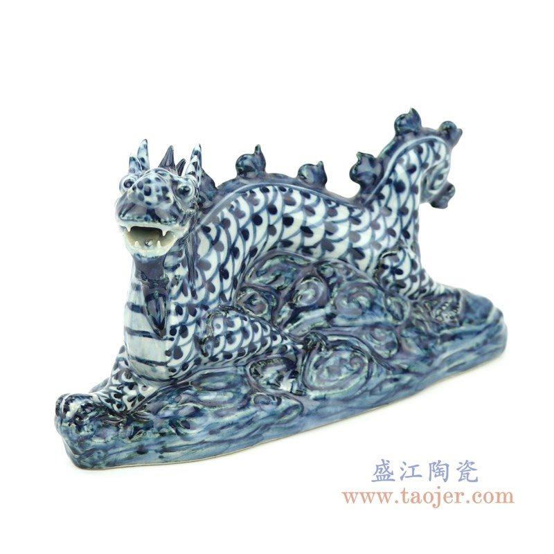 RZGB23 盛江陶瓷 青花狮子一对摆件
