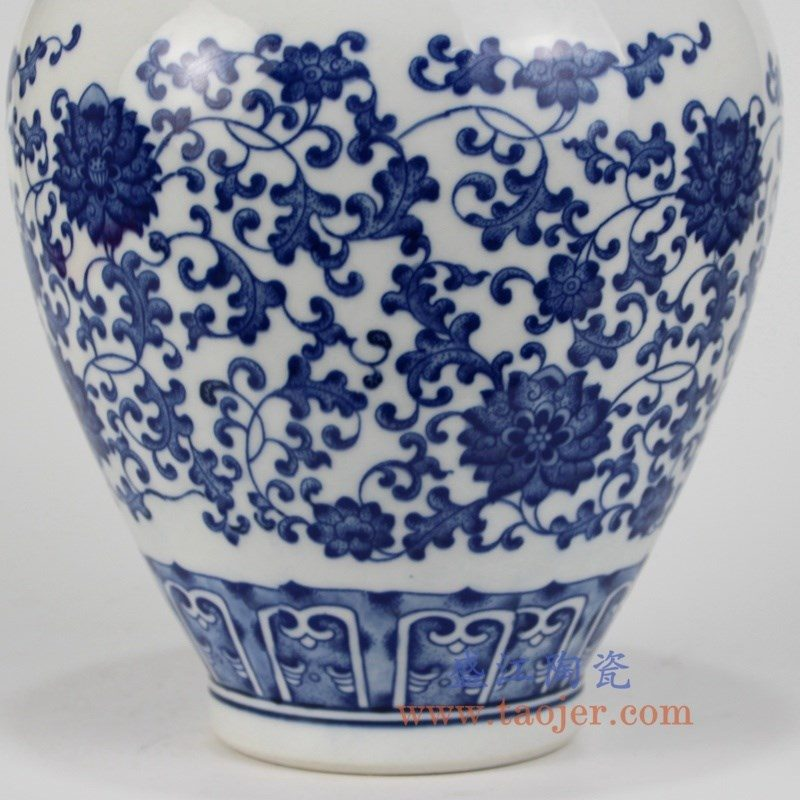 RZKD03盛江陶瓷 青花瓷缠枝莲纹罗汉瓶