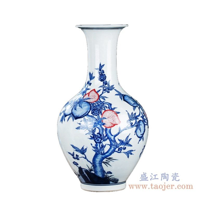 RZKD12 盛江陶瓷 手绘青花缠枝莲葫芦釉里红蟠桃赏瓶