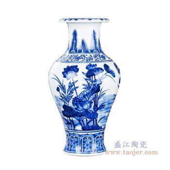 RZKD16 景德镇陶瓷 手绘青花荷花鱼尾瓶矮款