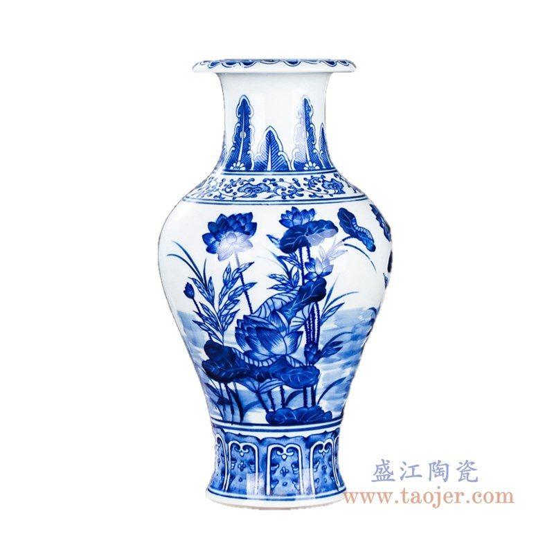 RZKD16 盛江陶瓷 手绘青花荷花鱼尾瓶矮款