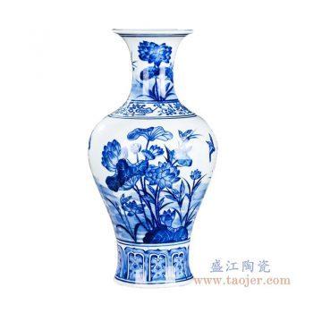 RZKD17 景德镇陶瓷  手绘青花荷花鱼尾瓶
