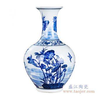RZKD18 景德镇陶瓷 手绘青花荷花赏瓶
