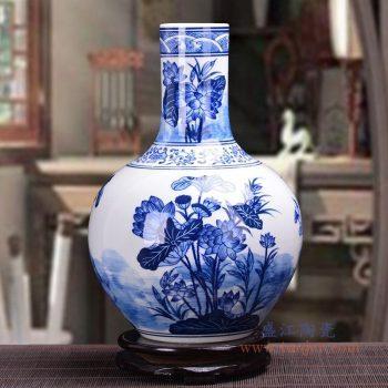 RZKD19 景德镇陶瓷 手绘青花荷花天球瓶