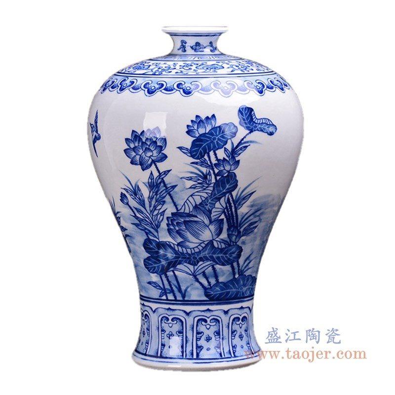RZKD23 盛江陶瓷 陶瓷手绘青花梅瓶