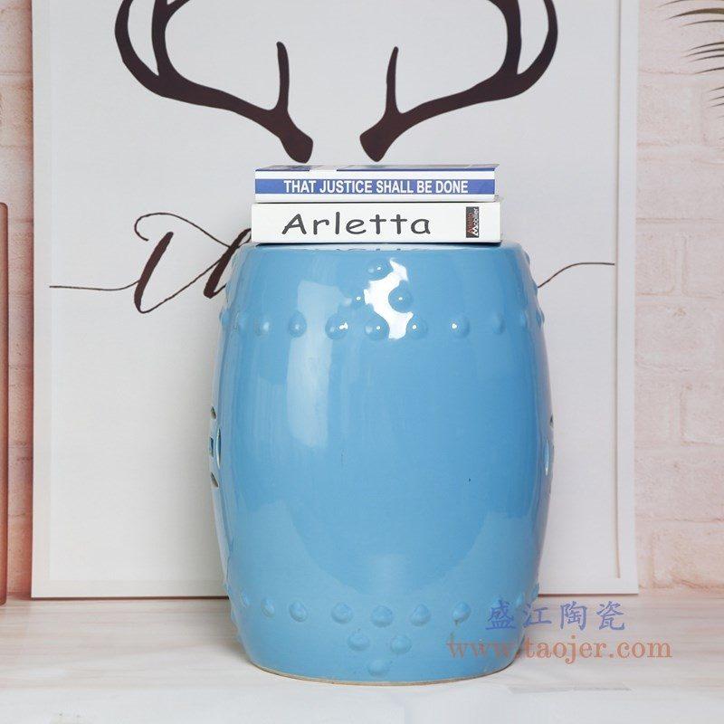 RZKL03-E 盛江陶瓷 陶瓷高温单色釉鼓凳凉墩凳子家居摆饰圆凳