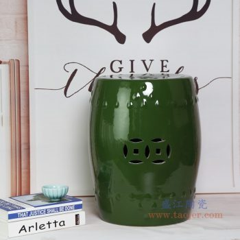 RZKL03-F 景德镇陶瓷 陶瓷高温单色釉鼓凳凉墩凳子家居摆饰圆凳换鞋凳子
