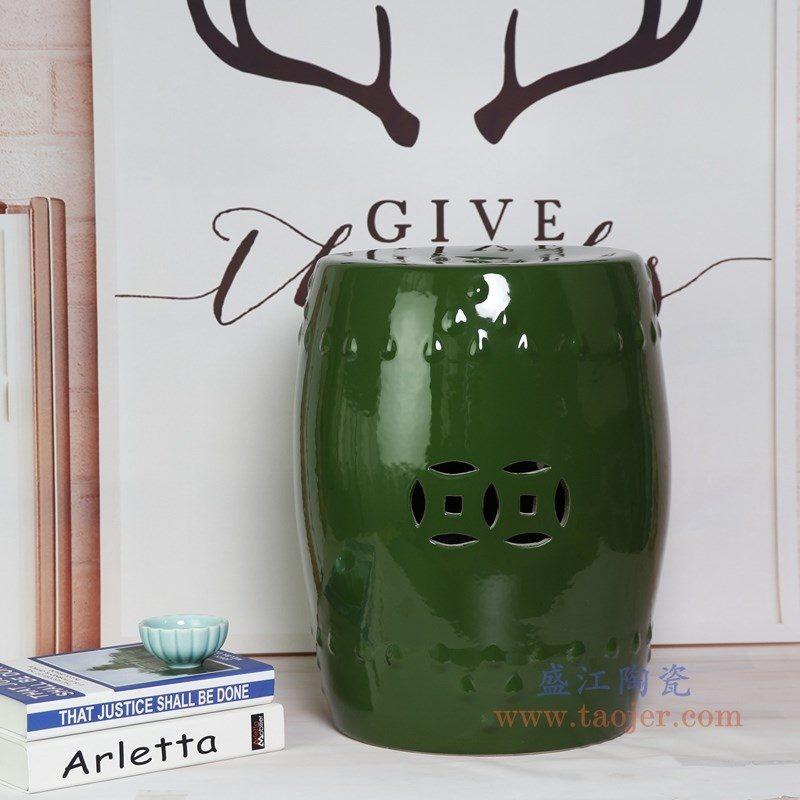 RZKL03-F 盛江陶瓷 陶瓷高温单色釉鼓凳凉墩凳子家居摆饰圆凳换鞋凳子