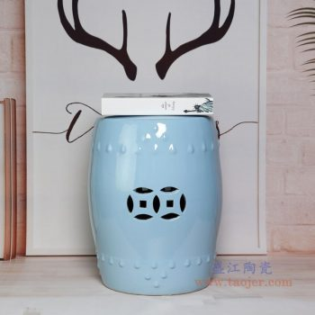 RZKL03-H 景德镇陶瓷 陶瓷高温单色釉鼓凳凉墩凳子家居摆饰圆凳
