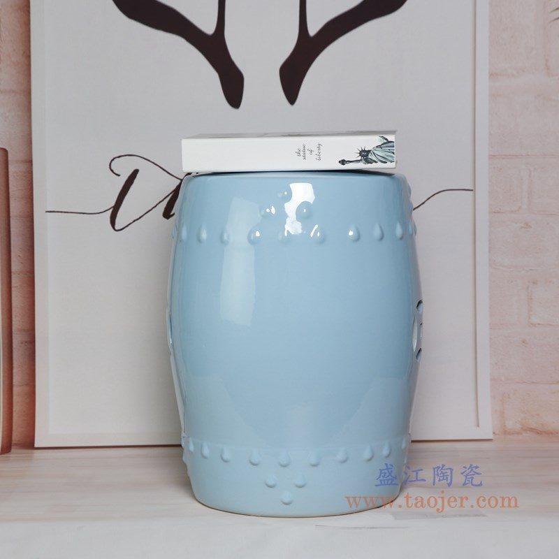 RZKL03-H 盛江陶瓷 陶瓷高温单色釉鼓凳凉墩凳子家居摆饰圆凳换鞋凳子