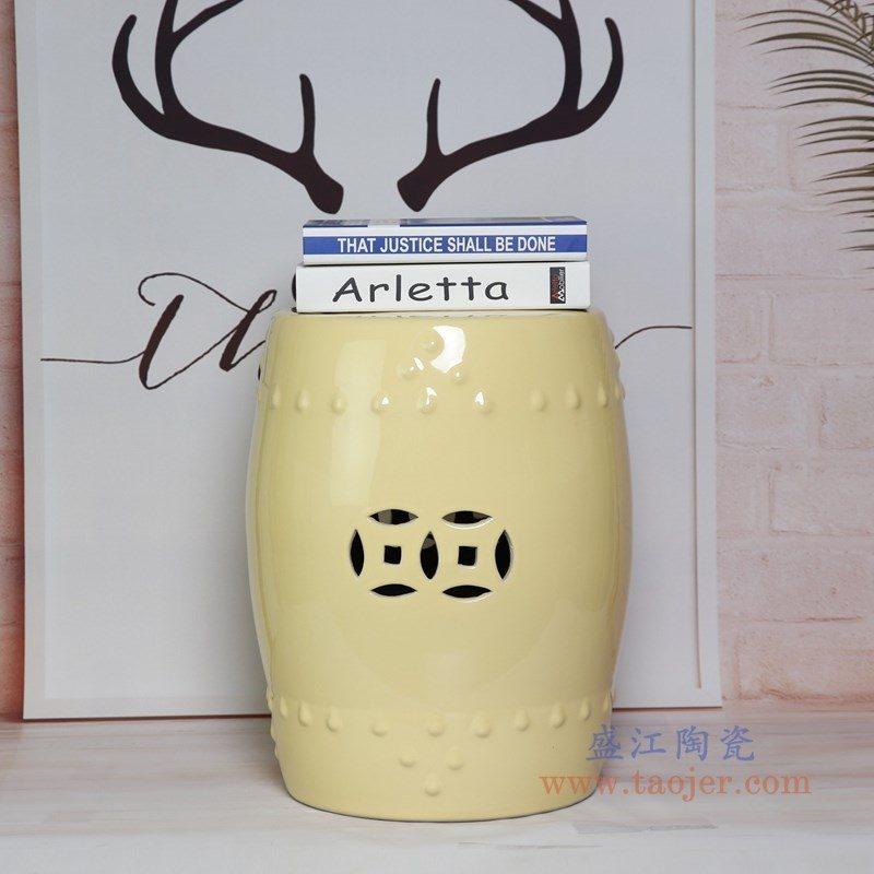 RZKL03-K 盛江陶瓷 陶瓷高温单色釉鼓凳凉墩凳子家居摆饰圆凳