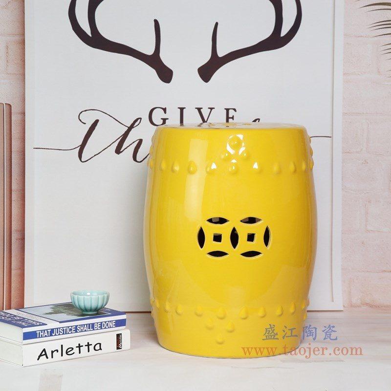 RZKL03-L 景德镇陶瓷 陶瓷高温单色釉鼓凳凉墩凳子家居摆饰圆凳