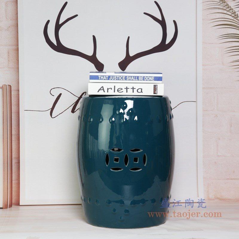 RZKL03-M 盛江陶瓷 陶瓷高温单色釉鼓凳凉墩凳子家居摆饰圆凳