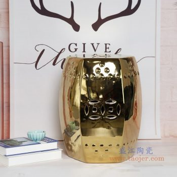 RZKL17-B 景德镇陶瓷 陶瓷高温单色釉鼓凳凉墩凳子家居摆饰圆凳