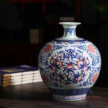 RZLG42 景德镇陶瓷 陶瓷手绘福寿图青花瓷花瓶