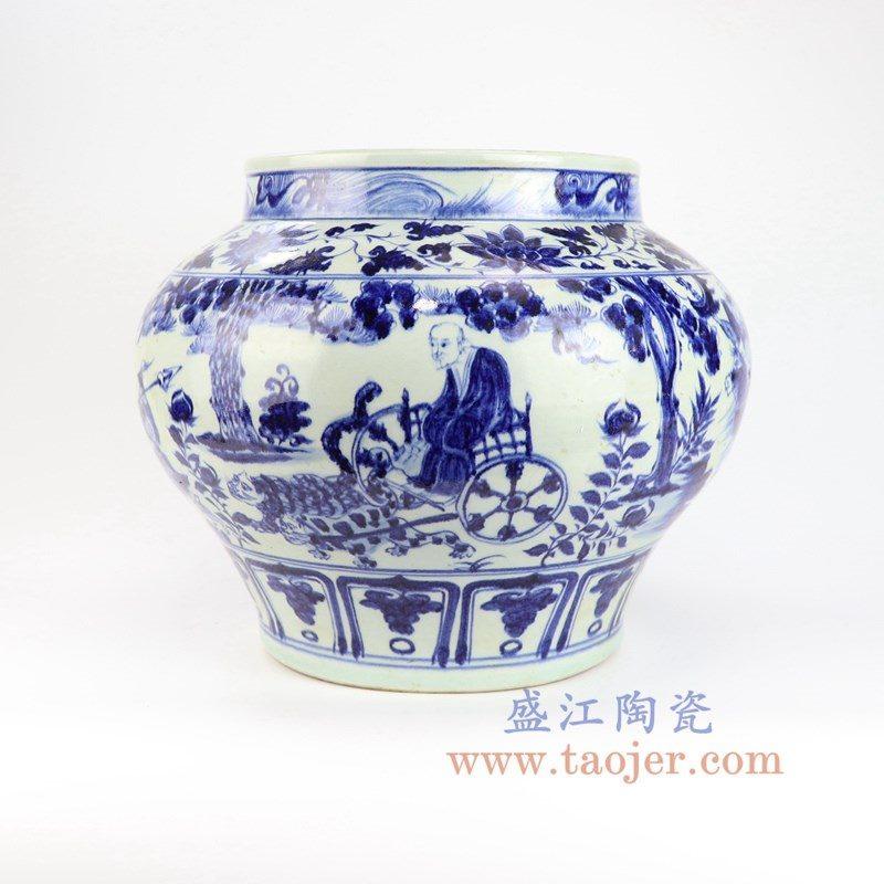 RZLQ11 盛江陶瓷 元青花人物鬼谷子下山图纹罐