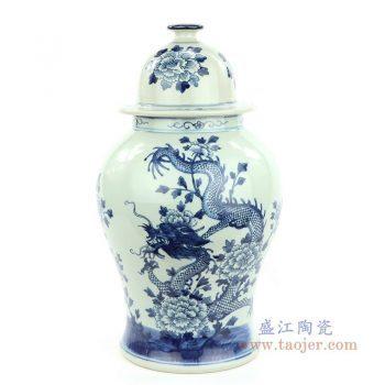 RZMW04-C 景德镇陶瓷 青花牡丹龙纹将军罐