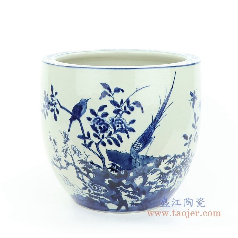 RZMW06-A 盛江陶瓷 手绘青花花鸟罐