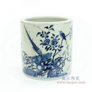 RZMW07-A 景德镇陶瓷 手绘青花花鸟图笔筒