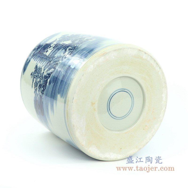 盛江陶瓷 青花人物纹书画缸