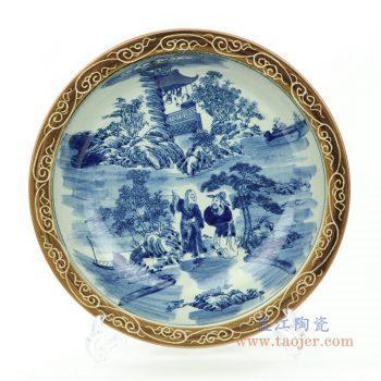 RZMW09-A 景德镇陶瓷 陶瓷手绘青花装饰底座盘