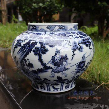 RZNo02 景德镇陶瓷 手绘元青花人物超高仿鬼谷子下山图文罐
