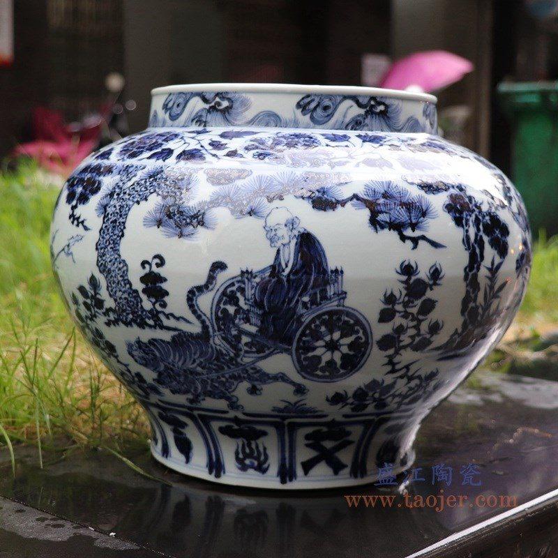 RZNo02 盛江陶瓷 手绘元青花人物超高仿鬼谷子下山图文罐