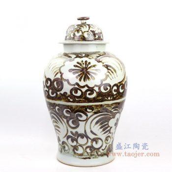 RZOX02 景德镇陶瓷 仿古铁锈酱色将军罐