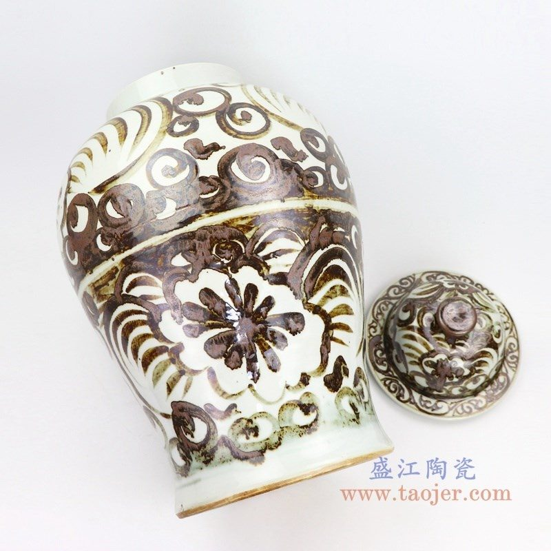 RZOX02 盛江陶瓷 仿古铁锈酱色将军罐