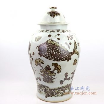 RZOX03 景德镇陶瓷 仿古铁锈鱼纹酱色将军罐