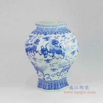 RZOY06 景德镇陶瓷 手绘青花人物罐