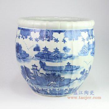 RZOY12 景德镇陶瓷 青花山水楼台缸