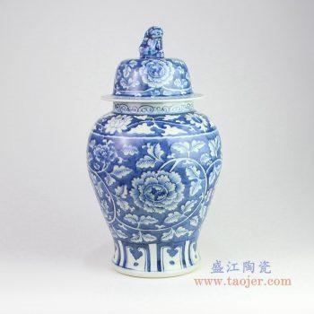 RZOY13 景德镇陶瓷 手绘青花牡丹狮子头将军罐