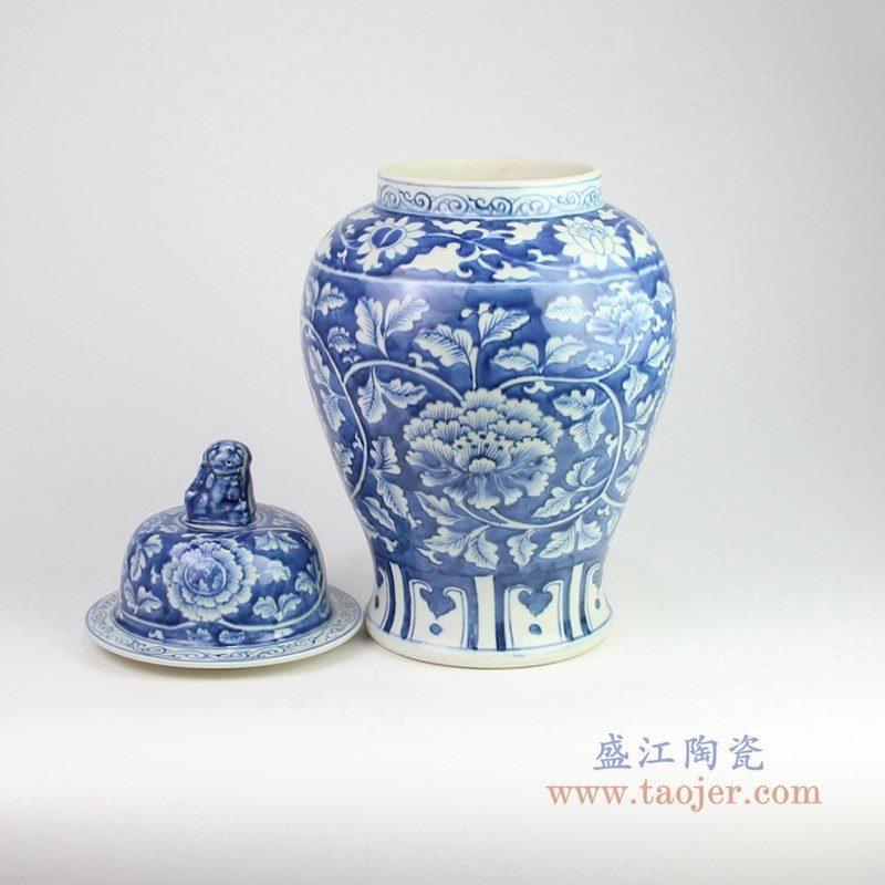 RZOY13 盛江陶瓷 手绘青花牡丹狮子头将军罐