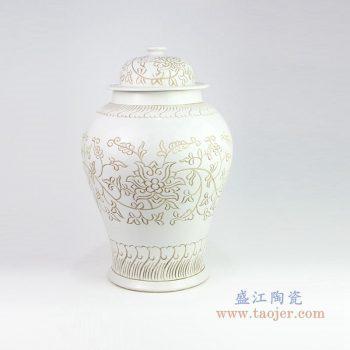RZOY17 景德镇陶瓷 花卉酱色将军罐