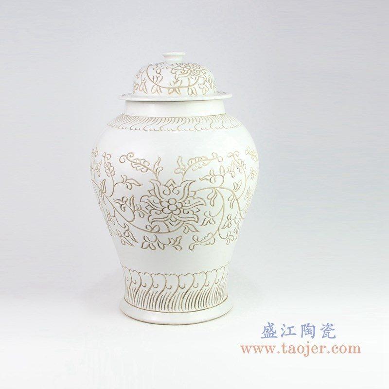 RZOY17 盛江陶瓷 花卉酱色将军罐