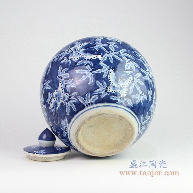RZOY18-A 盛江陶瓷 手绘青花带盖茶叶罐