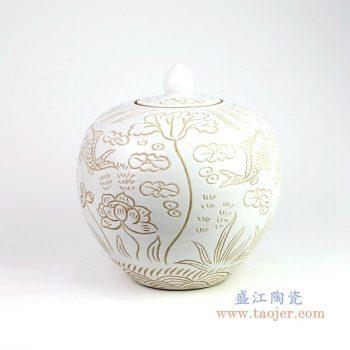 RZOY19 景德镇陶瓷 花卉荷花酱色茶叶罐