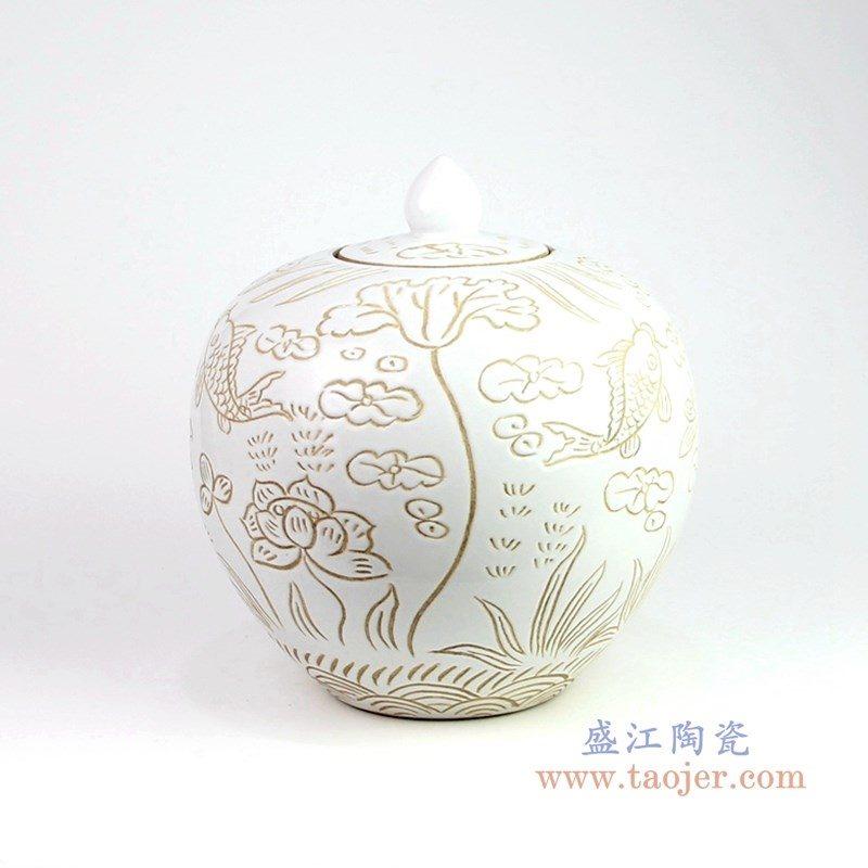 RZOY19 盛江陶瓷 花卉荷花酱色茶叶罐