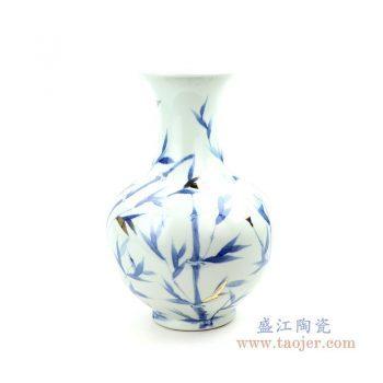 RZOY20 景德镇陶瓷 青花手绘竹影花瓶