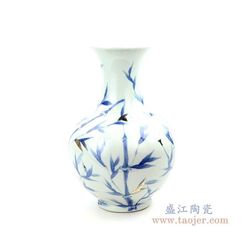RZOY20 盛江陶瓷 青花手绘竹影花瓶