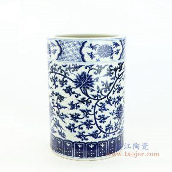 RZOY23 景德镇陶瓷 手绘青花缠枝直筒茶叶罐
