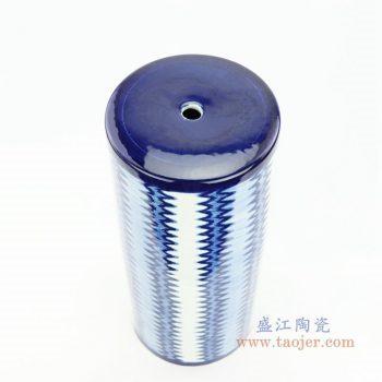 RZOY25 景德镇陶瓷 青花波浪纹瓷罐