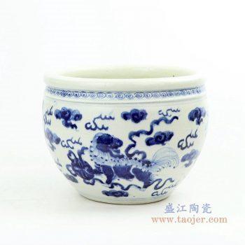 RZOY28 景德镇陶瓷 青花云龙海水纹缸