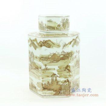 RZOY29-big 景德镇陶瓷 山水纹酱色六方茶叶罐大号