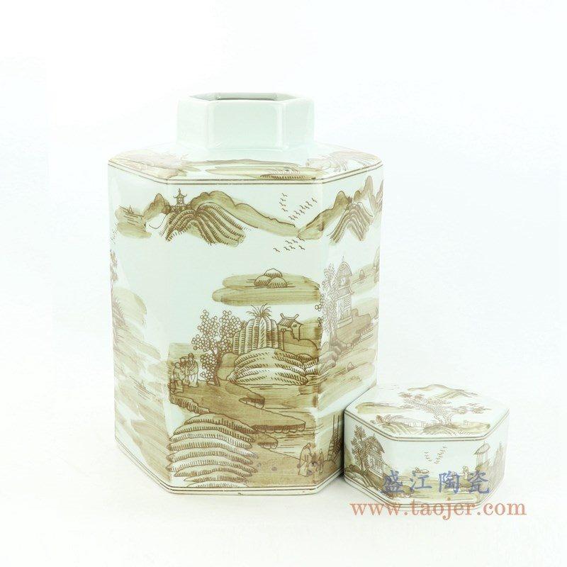 RZOY29-big 盛江陶瓷 山水纹酱色六方茶叶罐大号
