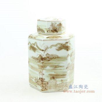 RZOY29-small 景德镇陶瓷 山水纹酱色六方茶叶罐小号
