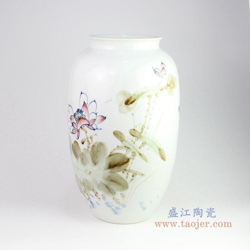 RZPB01 盛江陶瓷 写意荷花冬瓜瓶