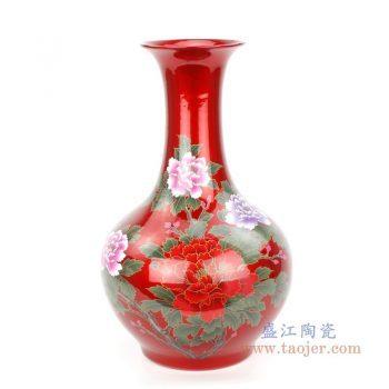 RZPD01-C 景德镇陶瓷 陶瓷红色水晶釉插花花瓶